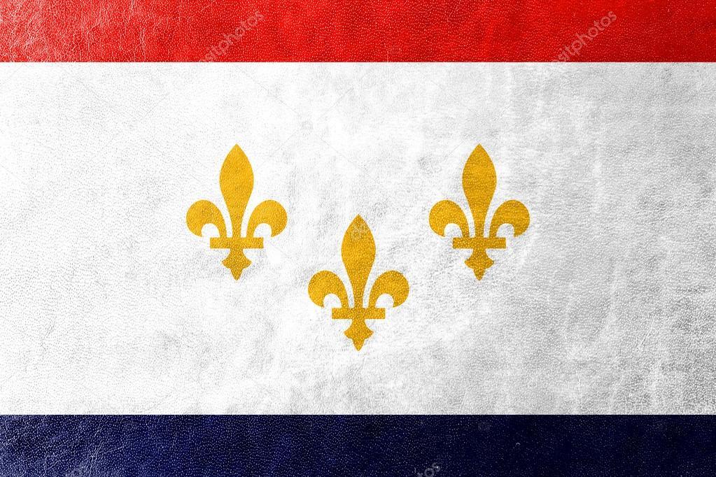 Bandera de Nueva Orleans, Luisiana, pintado en textura de cuero ...