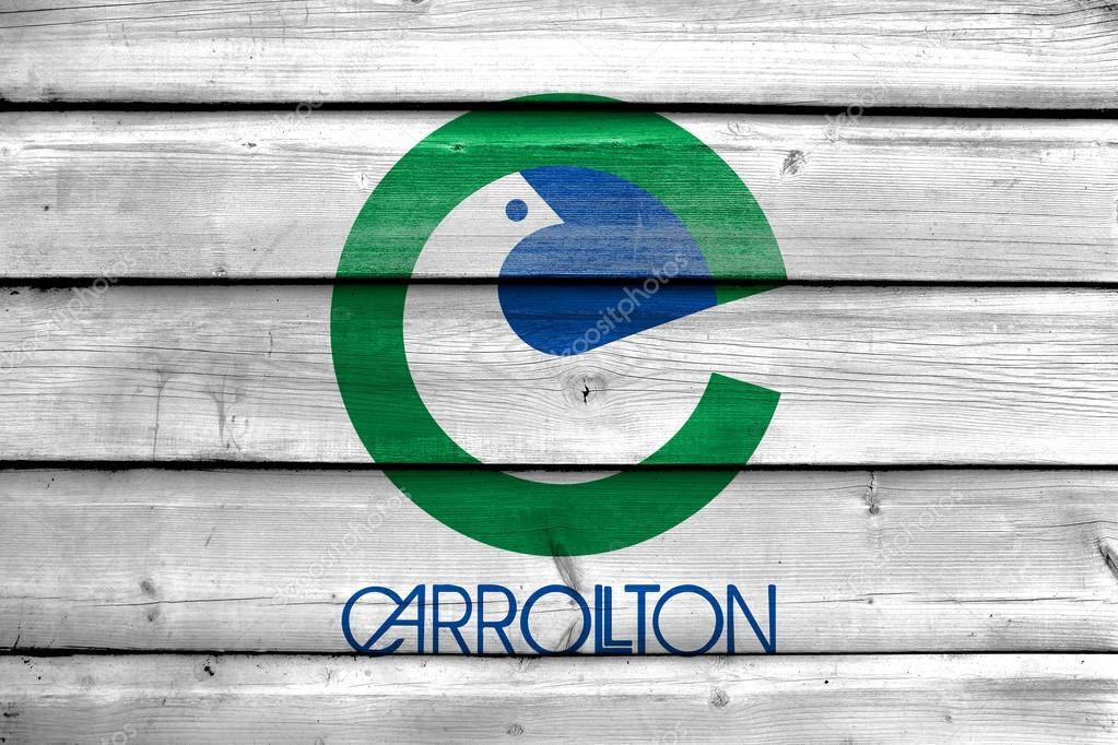 Vlag Van Carrolton Texas Geschilderd Op Oude Houten Plank