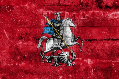 Flag of Moscow, painted on dirty wall. Vintage and old look.