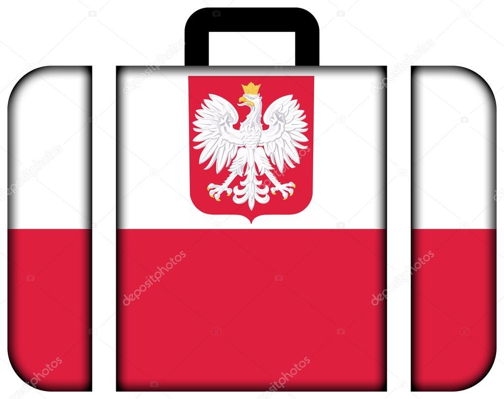 Bandera De Polonia Con El Escudo. Concepto De Icono