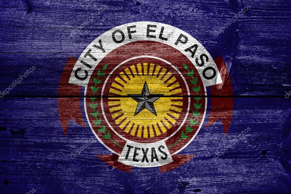 Flagge von El Paso, Texas, auf alten Holz Plank Hintergrund gemalt ...