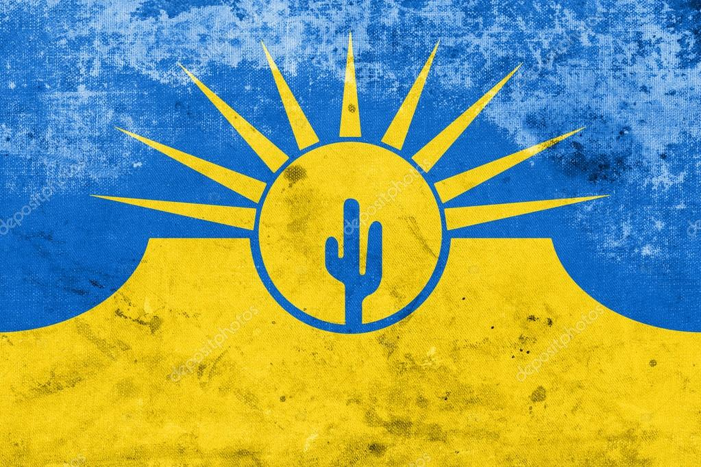 Flag of Mesa, Arizona, USA, with a vintage and old look — Stock