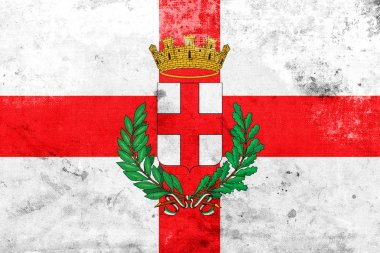 """Картина, постер, плакат, фотообои """"Флаг Милана с пальто рукояток, Италия, с марочных и старые смотреть"""", артикул 117397566"""