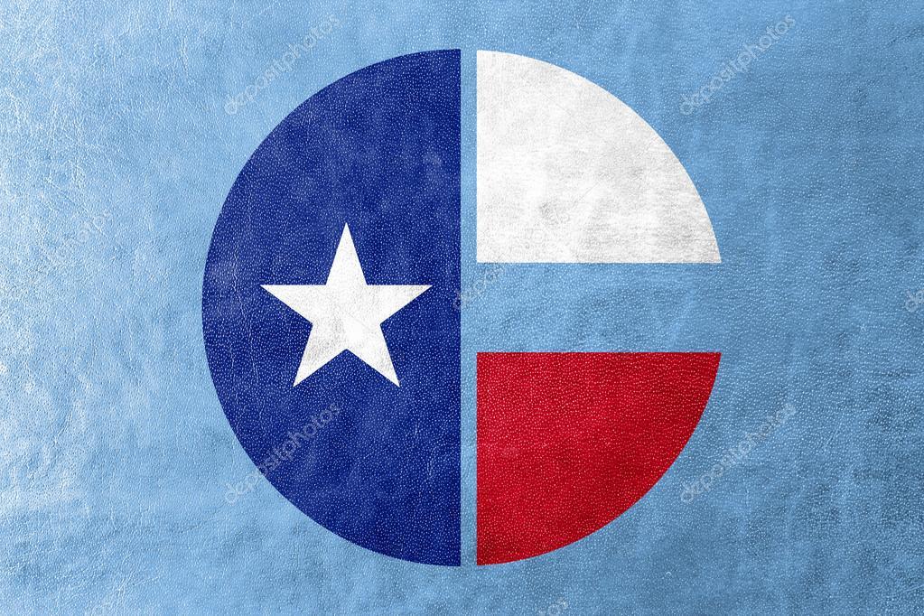 Flagge von Collin County, Texas, Usa, gemalt auf Lederstruktur ...