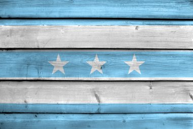 Flag of Guayaquil, Ecuador, painted on old wood plank background