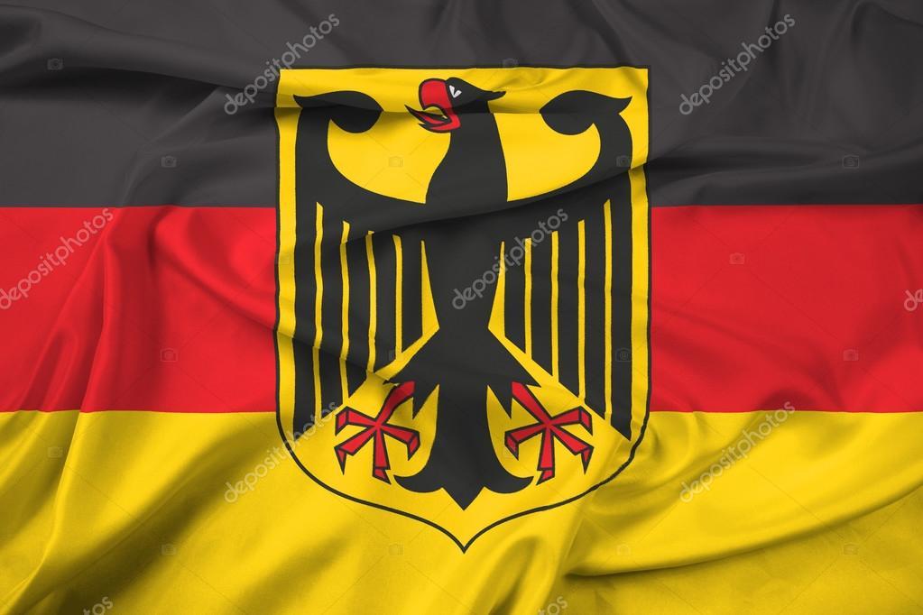 Ondeando La Bandera De Alemania Con Escudo