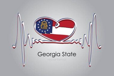 Hand painted heart and Georgia State Flag in Vector Format icon