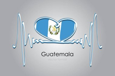 Hand painted heart and Guatemala Flag in Vector Format icon