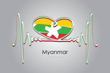 Hand painted heart and Myanmar Flag in Vector Format icon