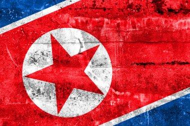 North Korea Flag painted on grunge wall