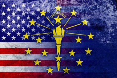USA and Indiana State Flag with a vintage and old look