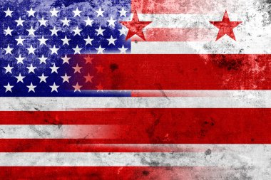 USA and Washington DC Flag with a vintage and old look