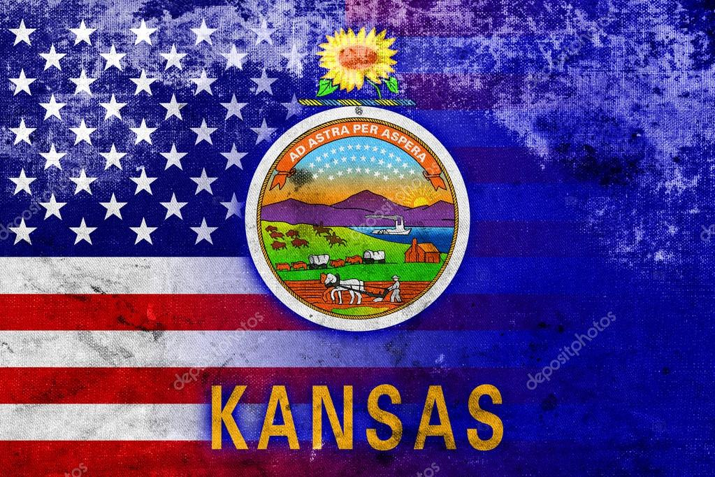 usa and kansas state flag with a vintage and old look stock photo