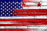 USA a Washington Dc vlajky maloval na zdi