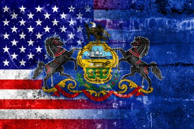 USA and Pennsylvania State Flag painted on grunge wall