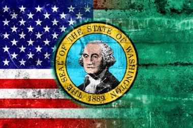 USA and Washington State Flag painted on grunge wall