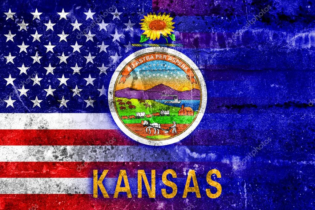 usa and kansas state flag painted on grunge wall stock photo