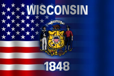 Waving USA and Wisconsin State Flag