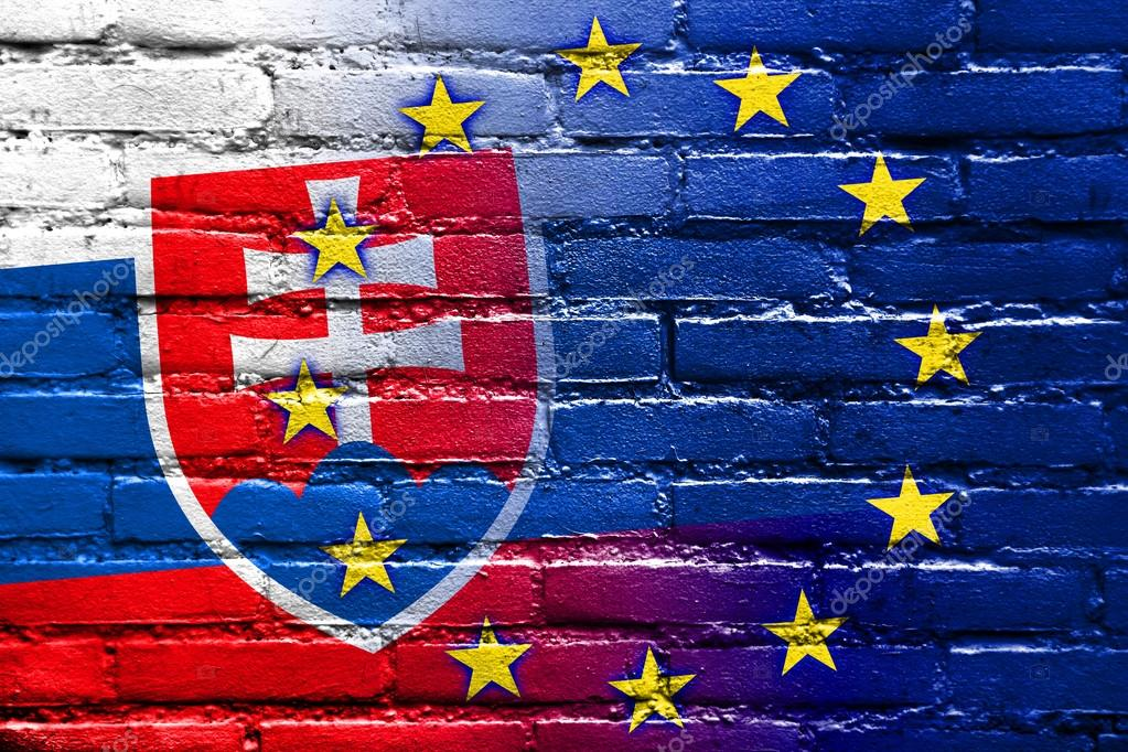 95b9d60129 Slovakia and European Union Flag painted on brick wall — Stock Photo ...