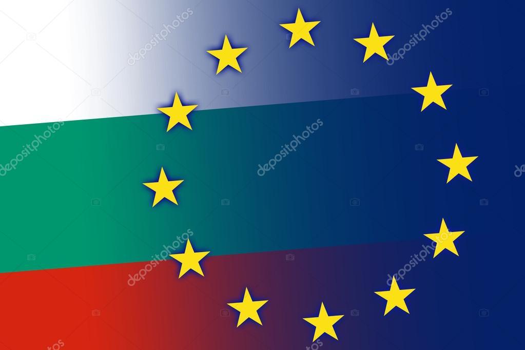 ブルガリア、ヨーロッパ連合の旗...