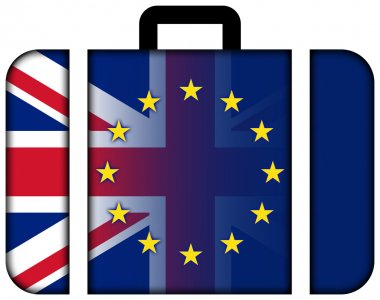 Suitcase with United Kingdom and European Union Flag
