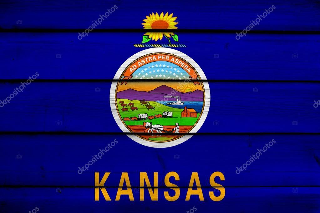 kansas state flag on wood background stock photo promesastudio