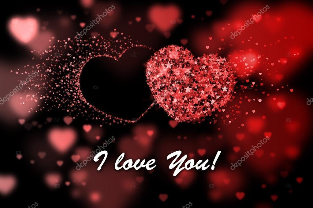 Ich liebe dich. Rote Herzen Hintergrund mit Bokeh-Effekt — Stockfoto ...