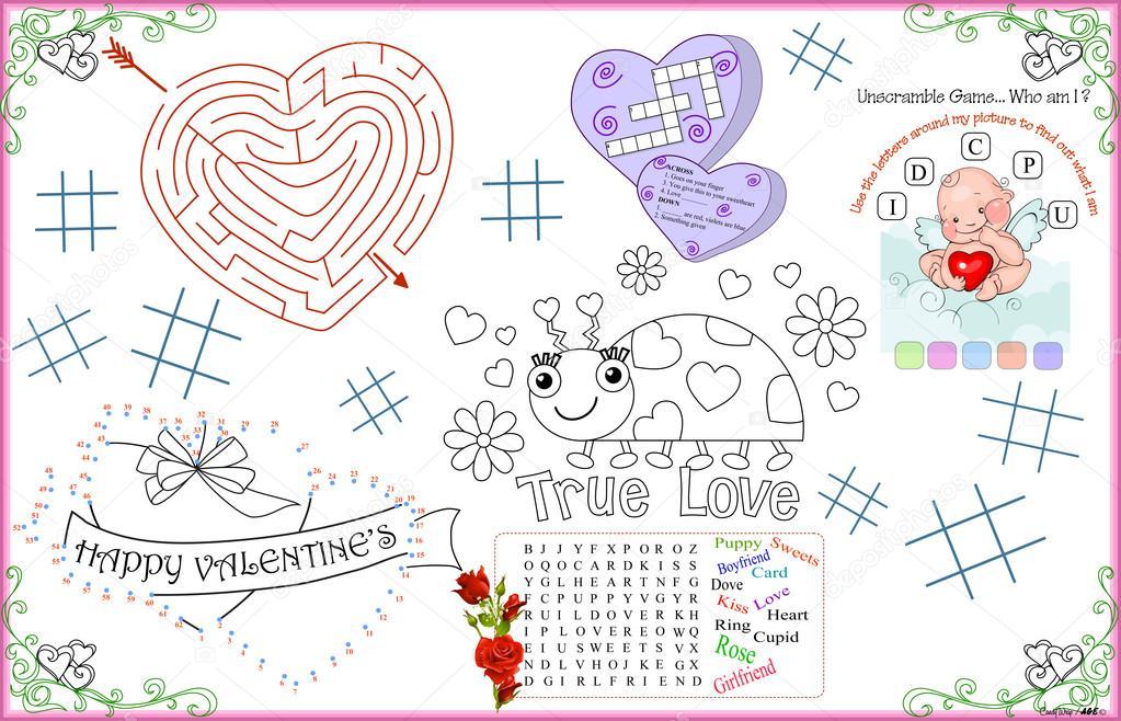 Hoja de actividades imprimibles de San Valentín mantel 4 — Vector de ...