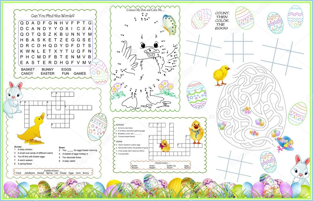 graphic relating to Easter Crossword Puzzles Printable identified as Placemat Easter Printable Game Sheet 9 Inventory Vector