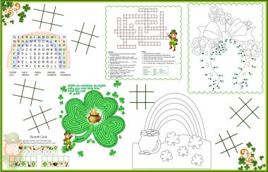 Placemat  St. Patrick's Day Printable Activity Sheet 2