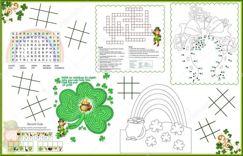 image regarding St Patrick's Day Crossword Puzzle Printable named Placemat St. Patricks Working day Printable Sport Sheet 2