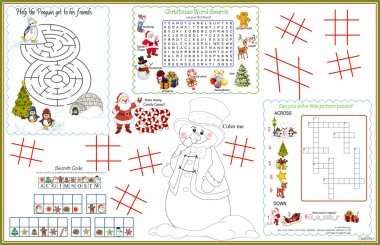 Placemat  Christmas Printable Activity Sheet 6