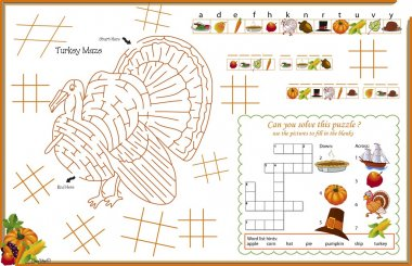 Placemat Thanksgiving Printable Activity Sheet 3
