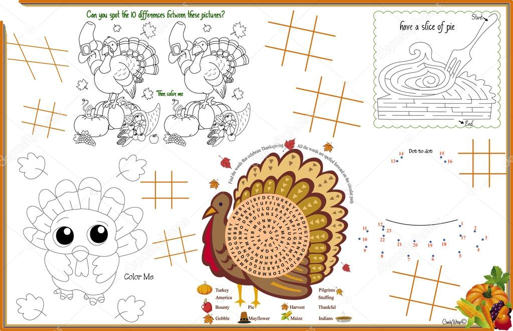 Keep Everyone Entertained At The Holiday Table With Find Differences Pie Maze Color Me Words