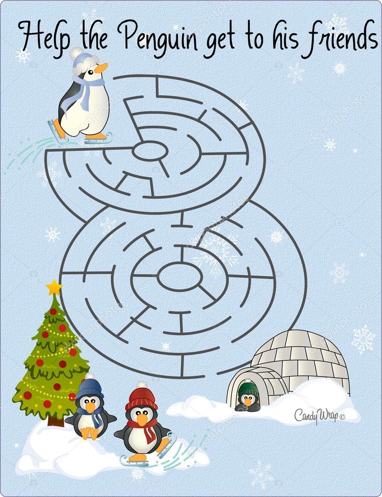 Penguin Maze Skating Rink Puzzle