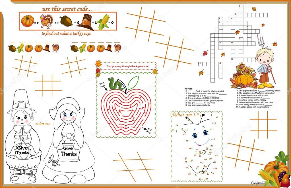 Placemat Thanksgiving Printable Activity Sheet 2 — Stock Vector ...