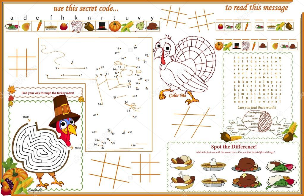Placemat Thanksgiving Printable Activity Sheet 1 — Stock Vector ...
