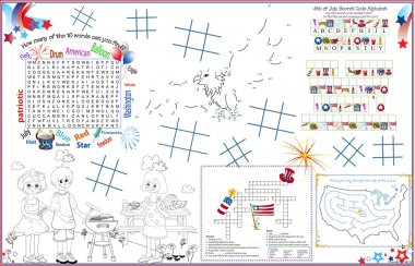 Placemat 4th of July Printable Activity Sheet 3