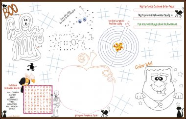 Placemat Halloween Printable Activity Sheet 4