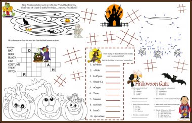 Placemat Halloween Printable Activity Sheet 9