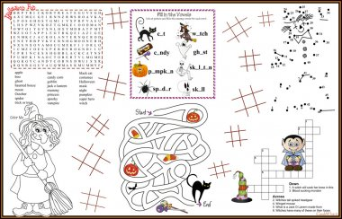 Placemat Halloween Printable Activity Sheet 8