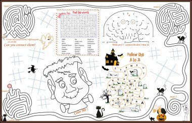 Placemat Halloween Printable Activity Sheet 3