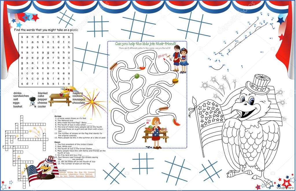 July 4 Coloring Pictures : Placemat 4th of july printable activity sheet 4 u2014 stock vector