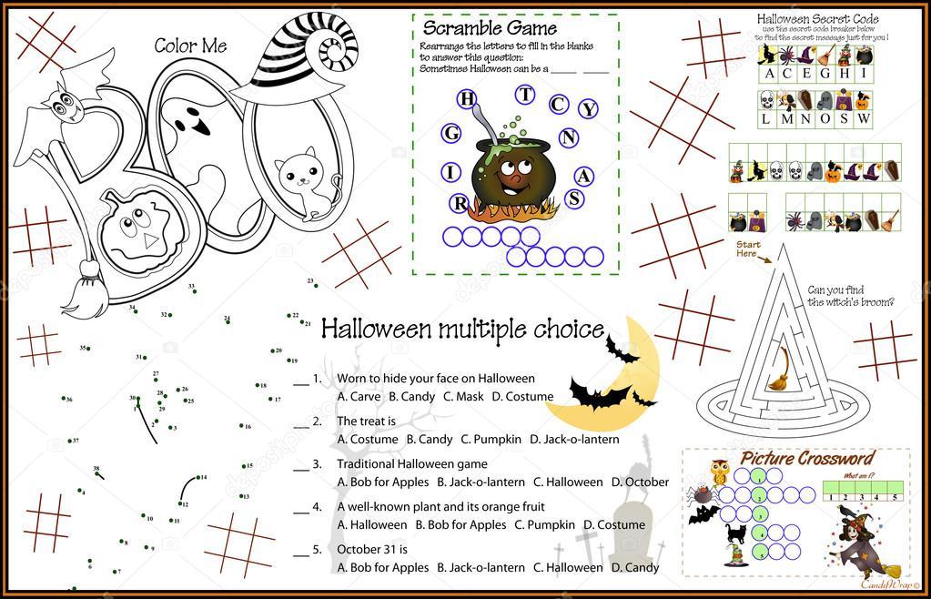 Placemat Halloween 7 Printable Activity Sheet — Stockvector ...