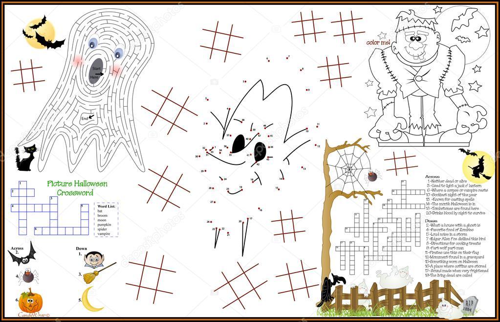 Placemat Halloween Printable Activity Sheet 6 Stock