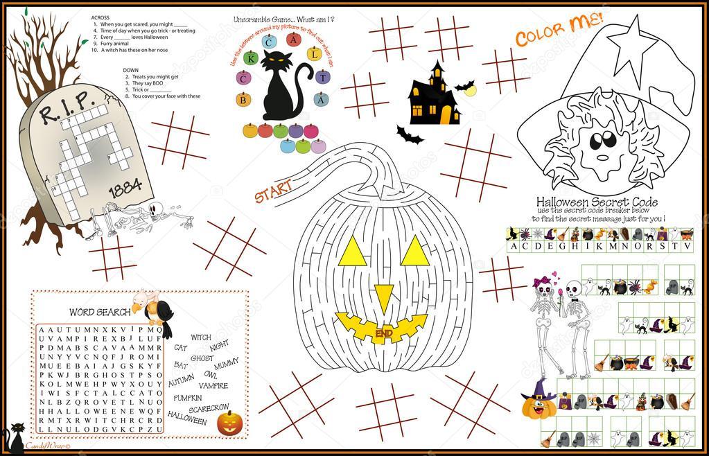 Platzdeckchen Halloween Druck Aktivität Blatt 5 — Stockvektor ...