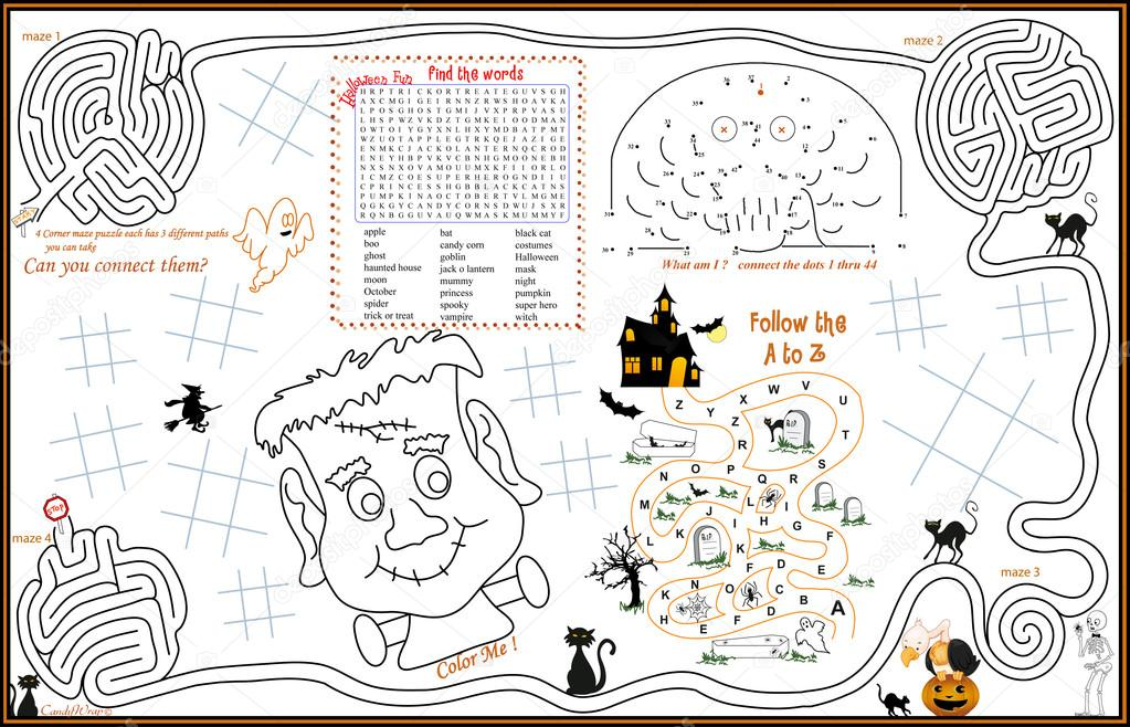 placemat halloween printable activity sheet 3 stock vector - Printable Halloween Activity Pages