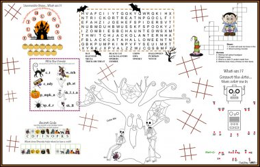 Placemat Halloween Printable Acitvity Sheet 10