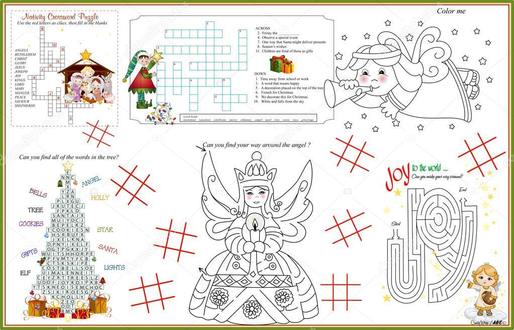 Hoja de actividades imprimibles de Navidad mantel individual 9 ...