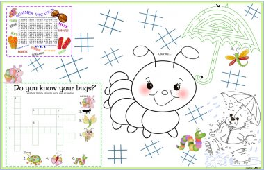 Placemat Spring Summer Printable Activity Sheet 4